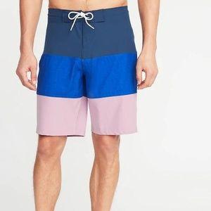 Built-In Flex Color-Blocked Board Shorts for Men